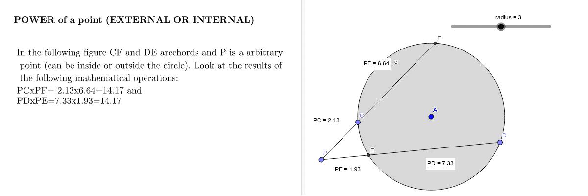 POWER of a point (EXTERNAL OR INTERNAL)  Press Enter to start activity