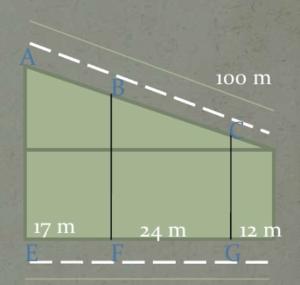 [size=100][size=150]Hi ha 3 solars per edificar entre dos carrers, calculen la façana de cadascun dels solars en el carrer de dalt, és a dir AB, BC i de C fins al final.[/size][/size]