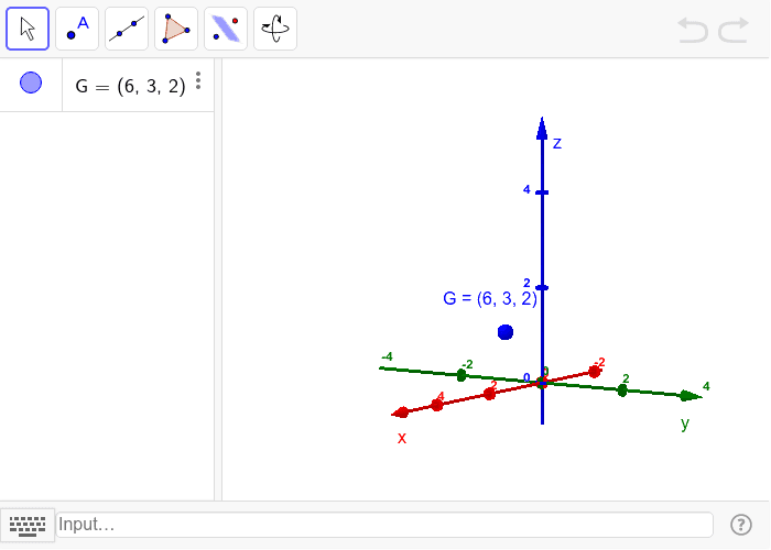 Try a variety of transformations on G. You can use the input bar to add in your own points, lines, planes. E.g. A = (1, 2, 3) or line[(a,b,c),(d,e,f)] or x = 0 for the yz-plane.