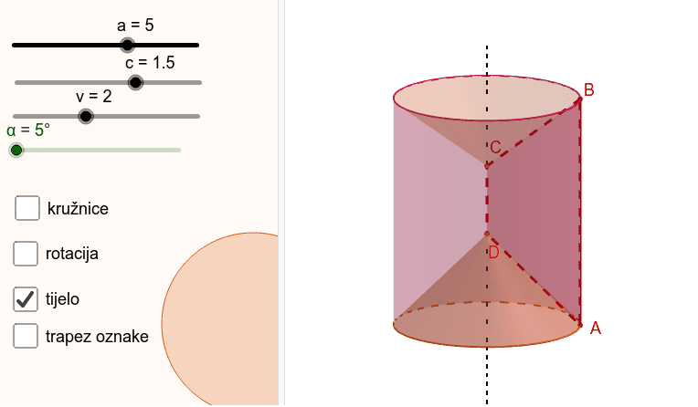 Trapez rotira oko  osnovice. Pritisnite Enter za pokretanje.