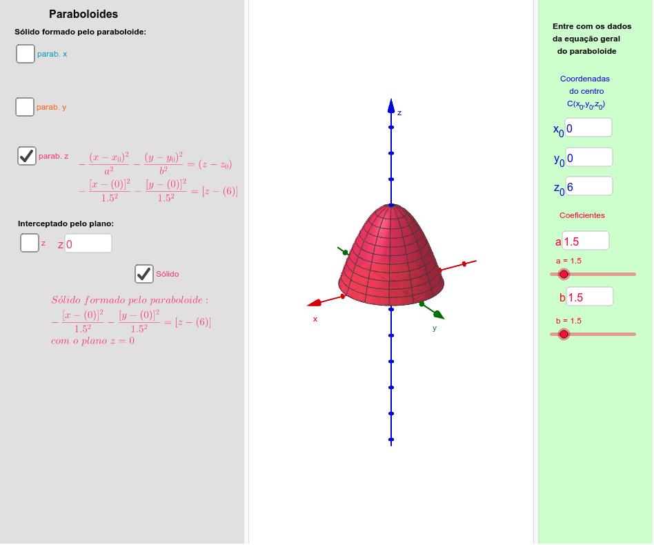 Sólido delimitado por um paraboloide elíptico e um plano paralelo aos eixos