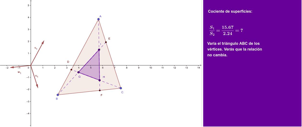 Si los puntos D, E y F dividen a los lados en 3 partes, se pide la relación entre las superficies de los triángulos.