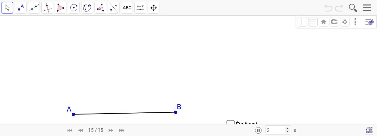 Narýsuj úhel 45° bez použití úhloměru. Nejdříve narýsujte sami. Poté zaškrtnutím checkboxu zobrazíte možné řešení. Tlačítky << a >> se pohybujete postupem. Zahajte aktivitu stisknutím klávesy Enter