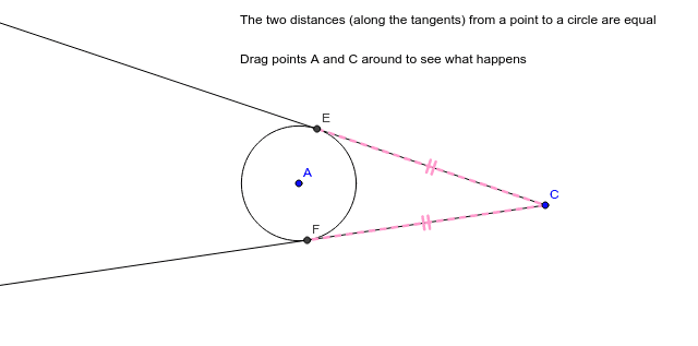 """Party Hat"" Theorem:  If TWO tangent lines are drawn from the SAME external point (point C, here), then their tangent SEGMENTS will ALWAYS be congruent! Press Enter to start activity"