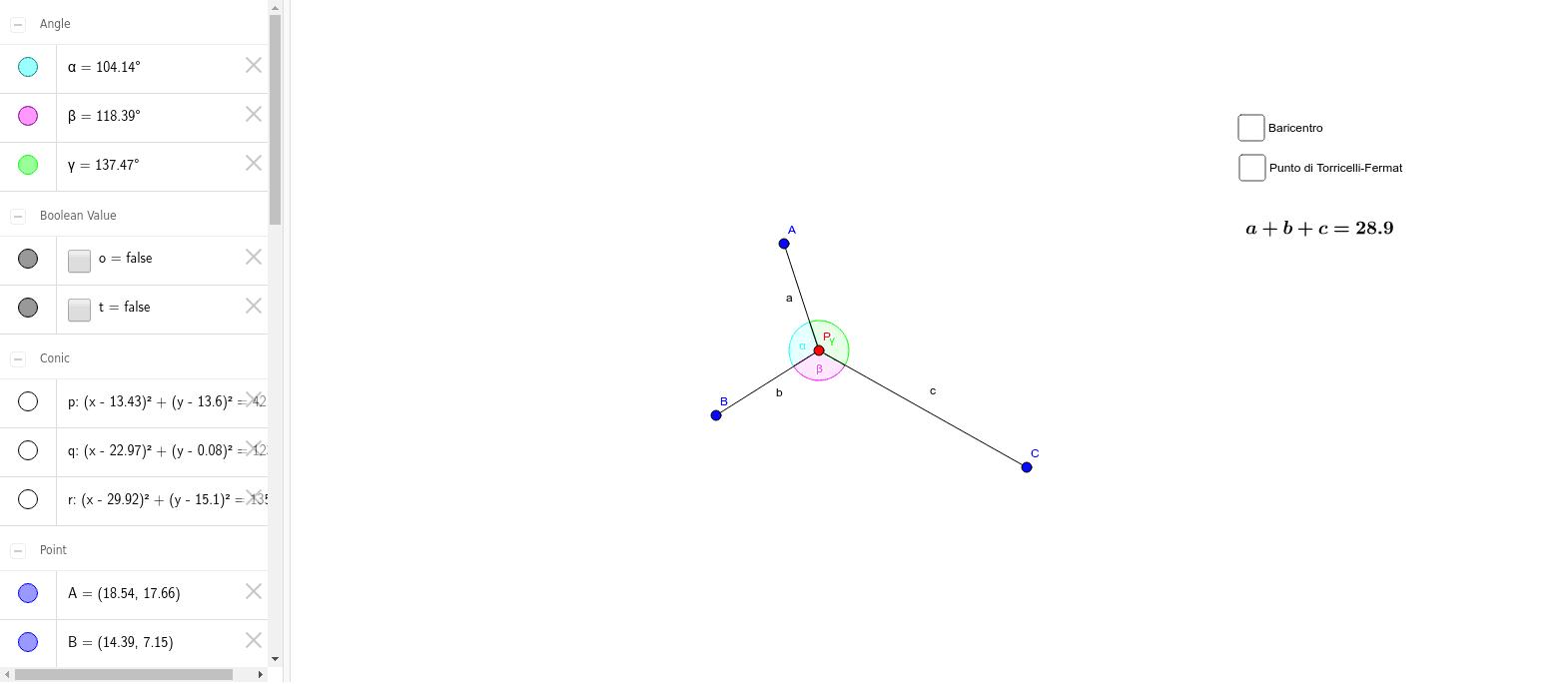 Prova a spostare il punto P e cerca la configurazione che rende minima la somma delle distanze da A, B, C. Coincide col baricentro? Cosa puoi osservare sugli angoli alfa, beta e gamma? Press Enter to start activity