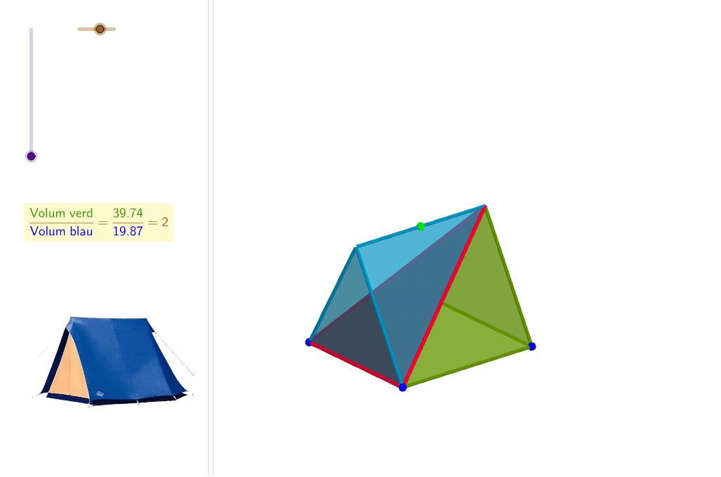 La tenda de campanya: el volum verd també és el doble del volum blau Premeu Enter per iniciar l'activitat