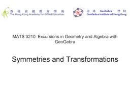 MATS3210-2 Symmetries and Transformations