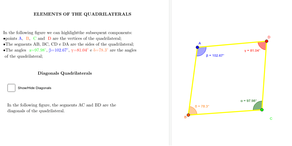 ELEMENTS OF THE QUADRILATERALS Press Enter to start activity