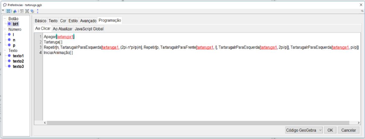 """Recorte de imagem da aba """"Ao clicar"""" da aba """"Programação"""", relativo a caixa para desenhar, mostrando as estratégias utilizadas."""