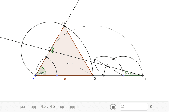 Construct an equilateral triangle ABC where the segment AD is given and equals the sum of side a and height h of the triangle. Press Enter to start activity