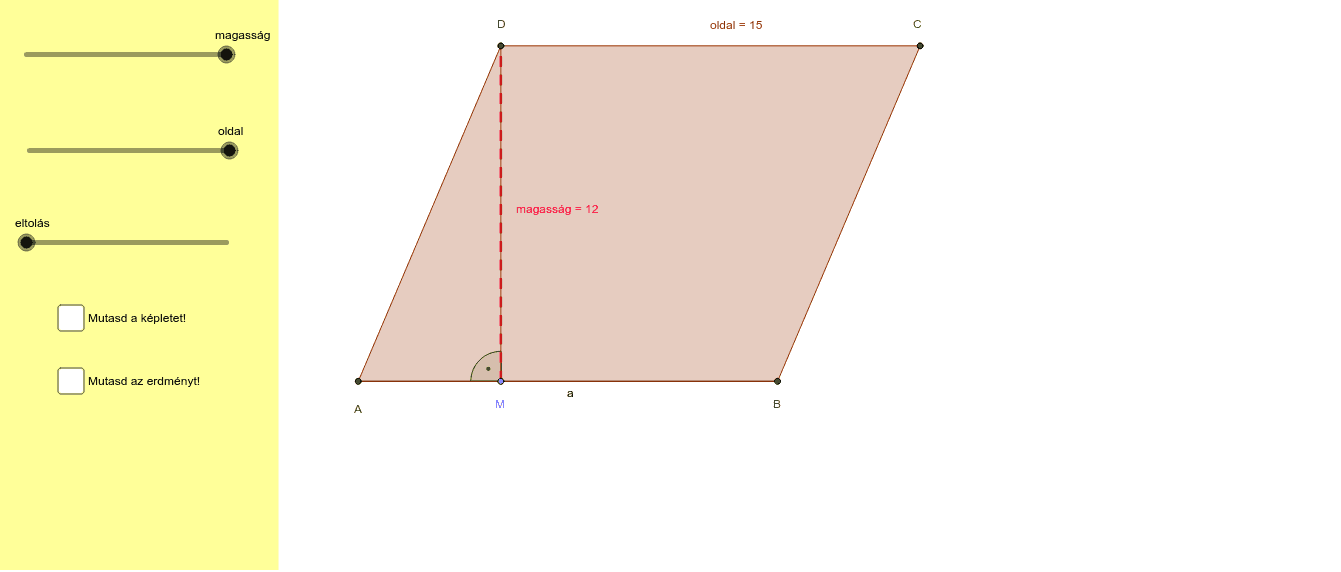 A paralelogramma területe Press Enter to start activity