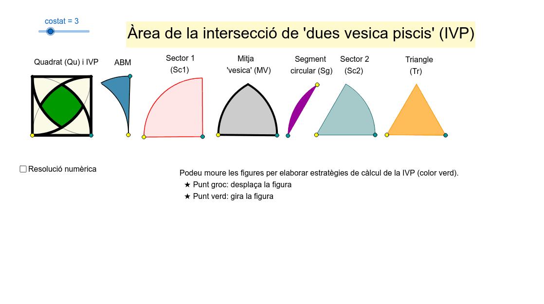 Càlcul de l'àrea com a diferència d'un quadrat i quatre triangles curvilinis