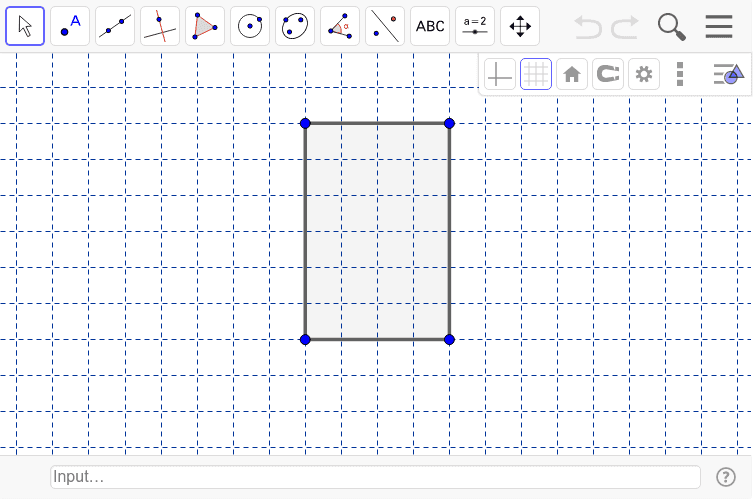 How many lines of symmetry does this rectangle have?  Use the line tool to draw lines of symmetry and the reflect the rectangle using the reflect tool.