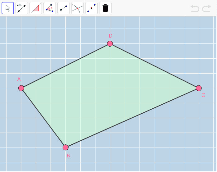 Move the pink vertices of this quadrilateral around to form a PARALLELOGRAM.