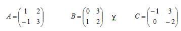 [size=100]Calcular:  a)   A + B - C  b)   A - 2B + 3C[/size]