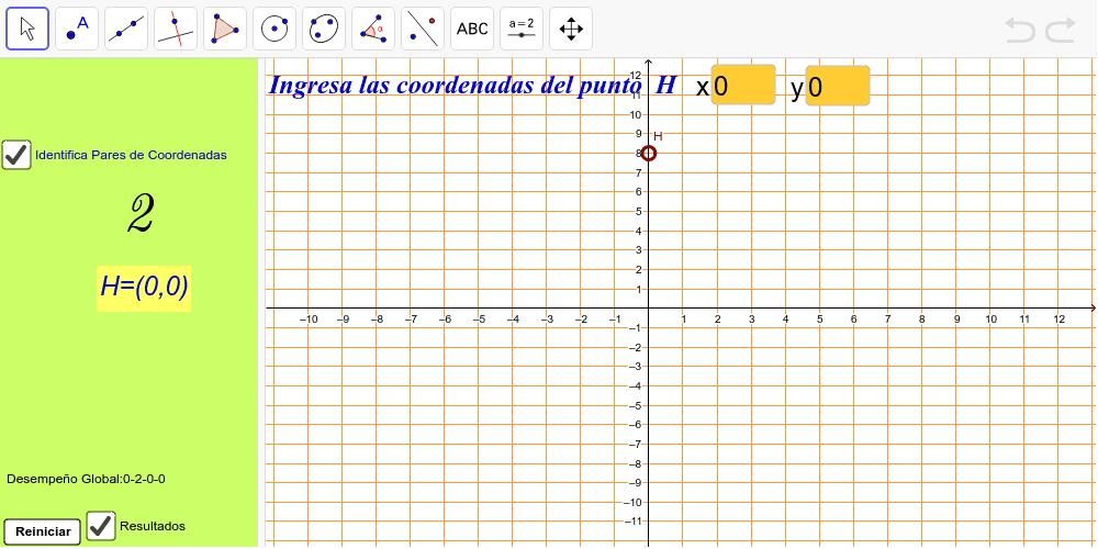 Identificación de pares de coordenadas Presiona Intro para comenzar la actividad