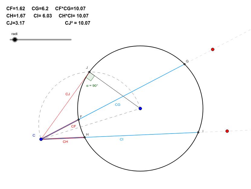Desplaça els punts vermells o blaus per modificar les secants el punt C