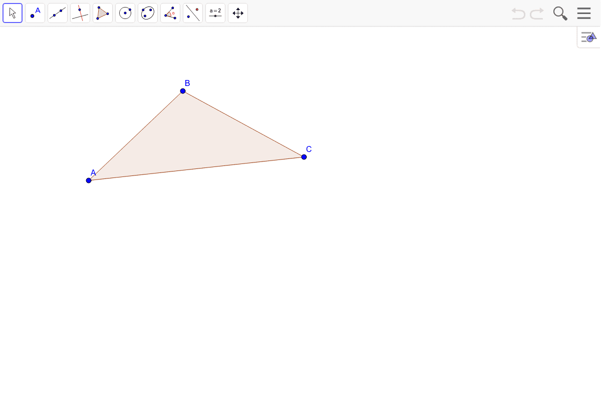 4) Find the center of gravity of the triangle.