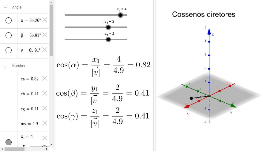 O que são cossenos diretores? Altere cada coordenada do vetor v = (x1, y1, z1), nos controles e observe o impacto na representação do vetor no sistema de eixos.