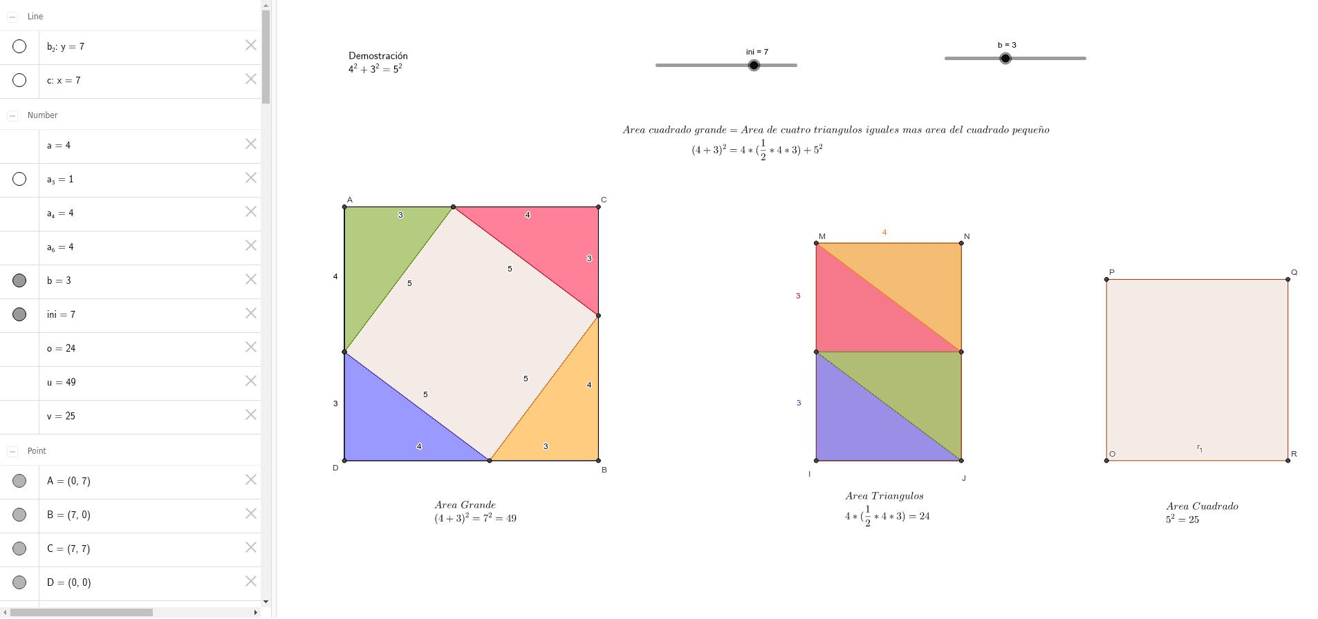 Mueve los deslizadores para comprobar los resultados del teorema