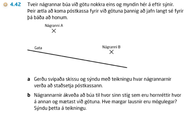Verkefnið er byggt á verkefni í Skala 2B, bls. 31, a-lið.