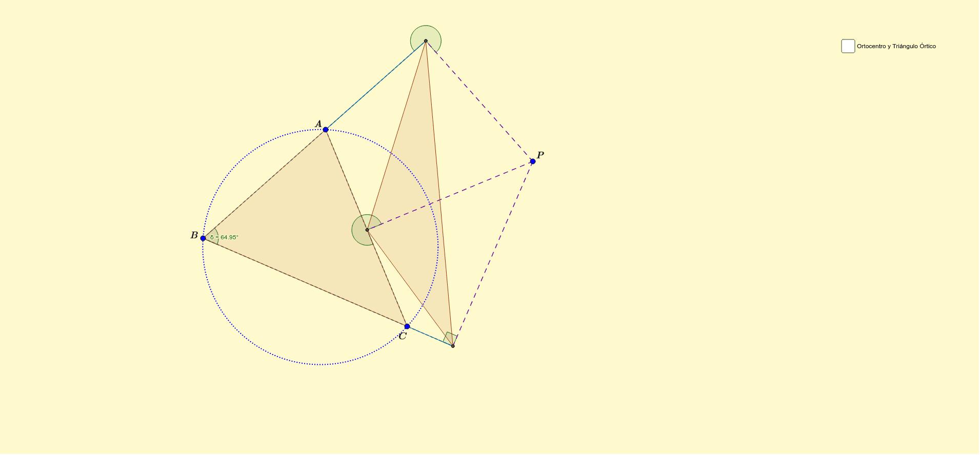 Con esta construcción mostramos que el triángulo Órtico es sólo un caso particular del triángulo pedal. Veremos que cuando el punto P se hace igual al ortocentro estos coinciden  Presiona Intro para comenzar la actividad