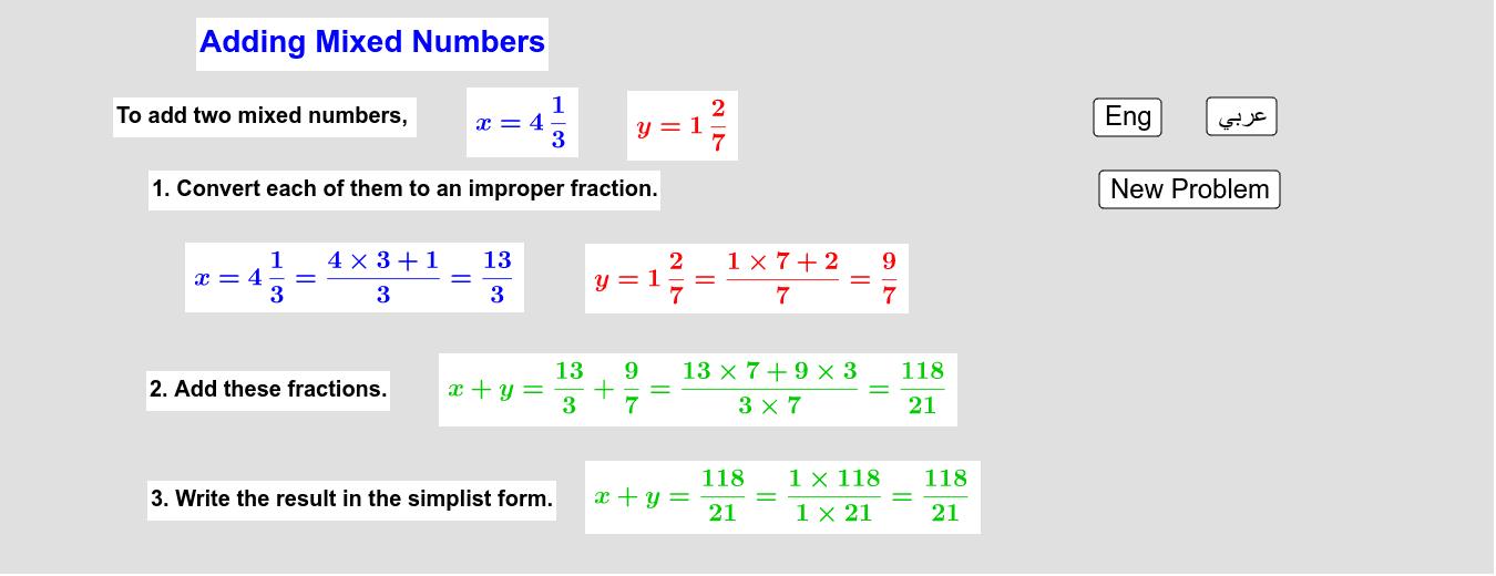 Adding Mixed Numbers         جمع الأعداد الكسرية Press Enter to start activity