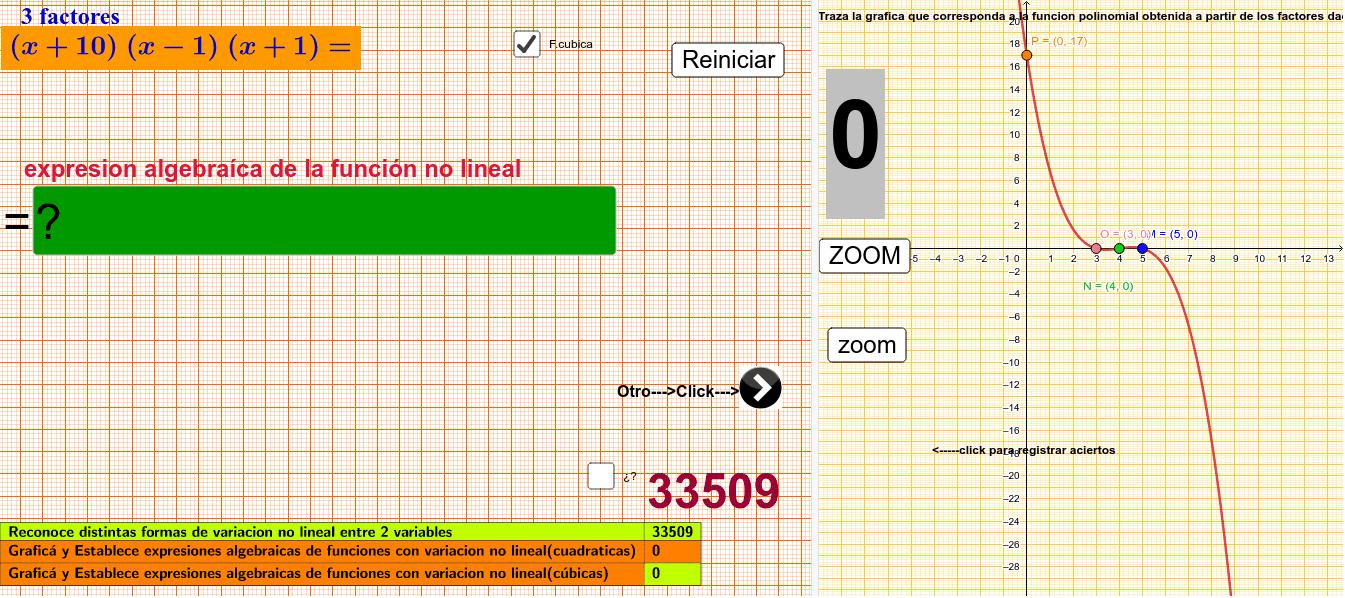 Expresa algebraicamente y traza la grafica de funciones con variación no lineal