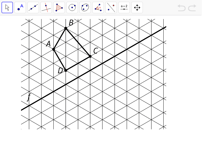 Reflect quadrilateral ABCD across line f.  Press Enter to start activity