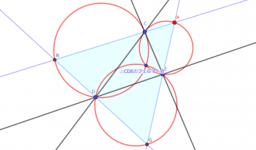 三角形に内接する三角形と外接する三角形の作図