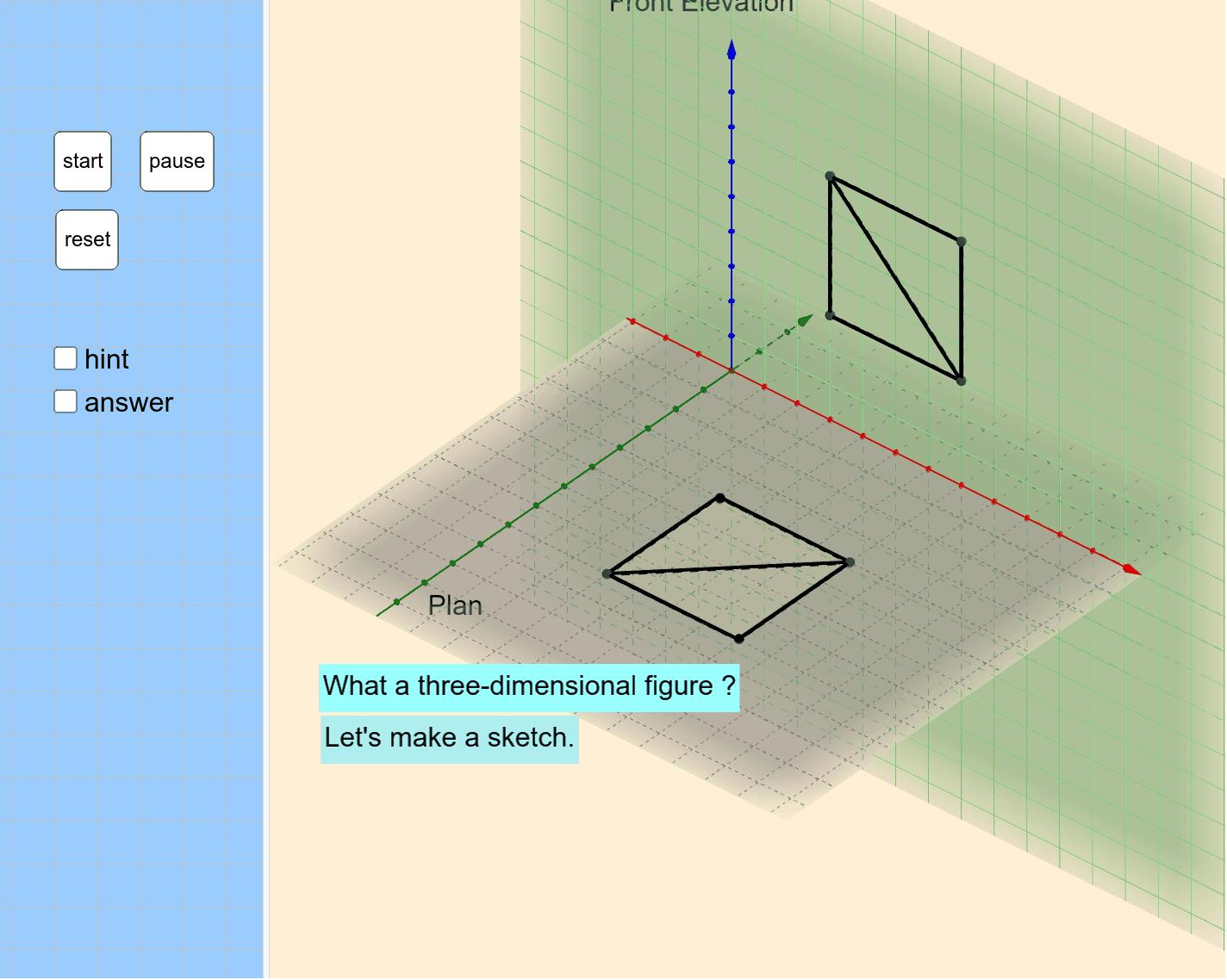 どんな立体図形でしょうか? まずは、[start]をクリック ワークシートを始めるにはEnter キーを押してください。