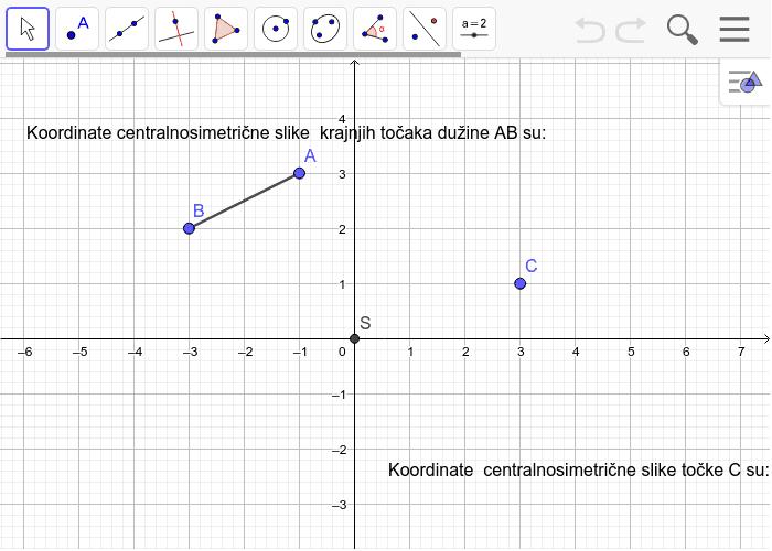5.Preslikaj  centralnosimetrično dužinu AB i  točku C preko ishodišta koordinatnog sustava S te napiši koordinate slika(objašnjavam u videu kako) Pritisnite Enter kako bi pokrenuli aktivnost