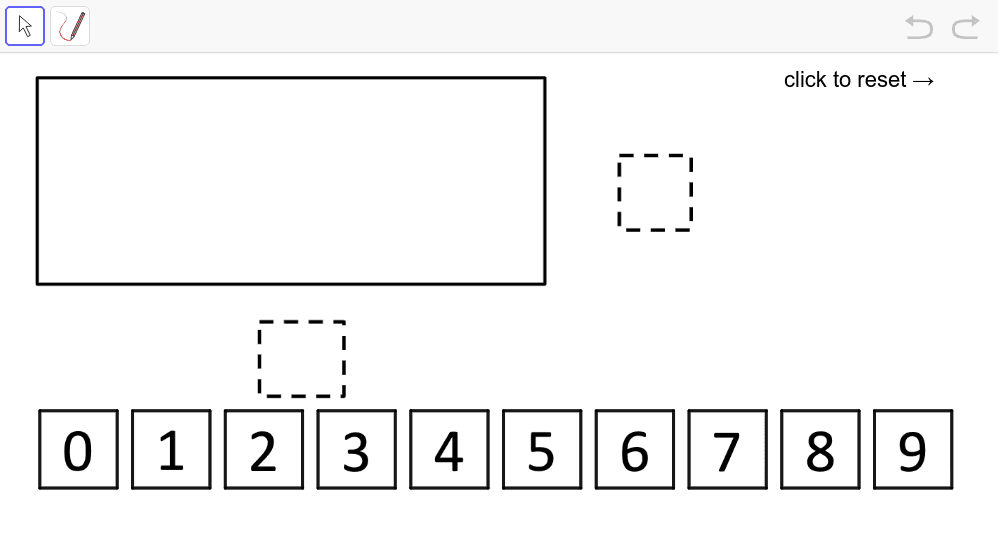 Using the digits 1 – 9, at most once each, fill in the blanks to make it so that the value for the area of the rectangle (in square units) is greater than the value for the perimeter (in linear units). What is the greatest difference you can find between  Press Enter to start activity