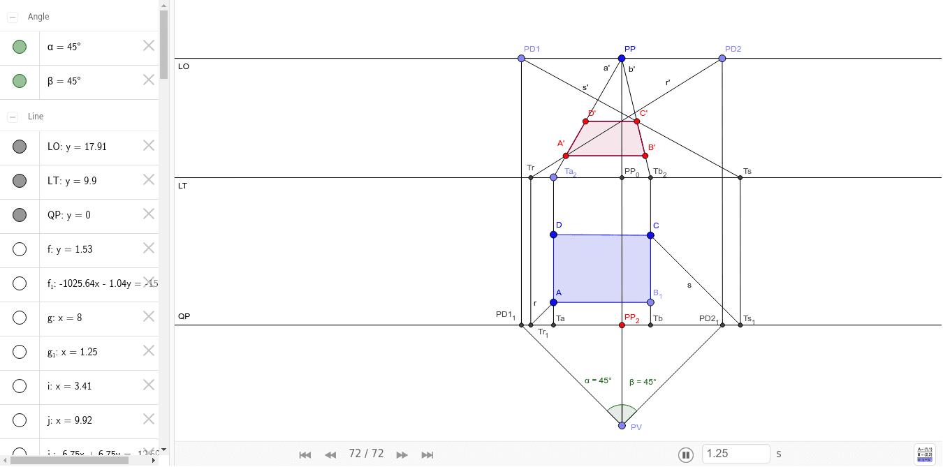 Prospettiva Centrale E Accidentale prospettiva centrale rettangolo – geogebra