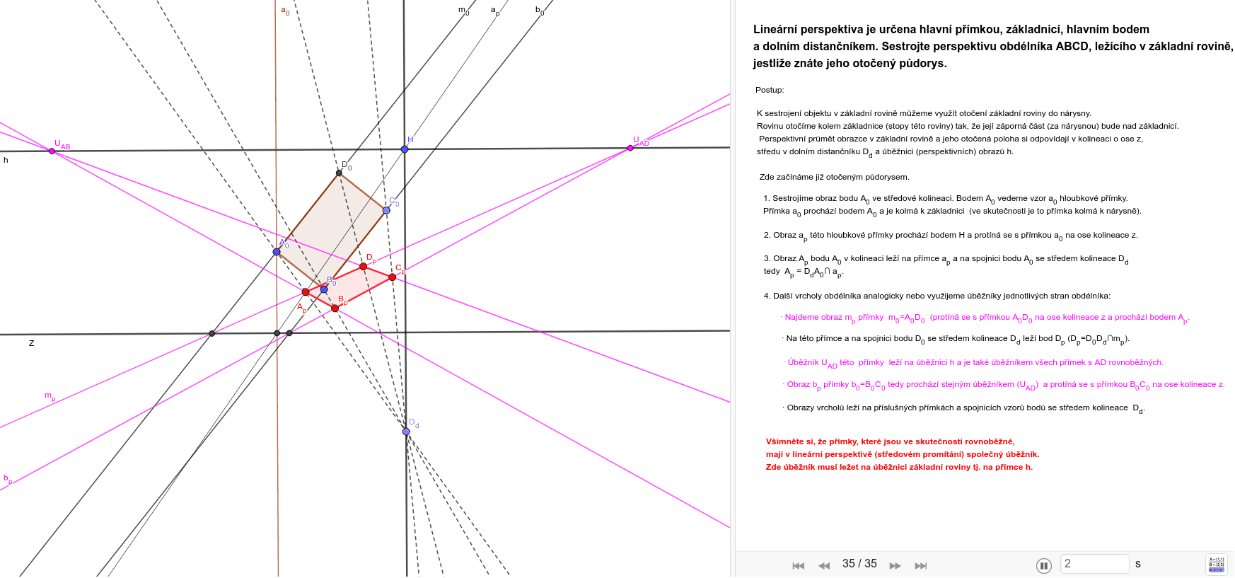 GeoGebra Applet Zahajte aktivitu stisknutím klávesy Enter