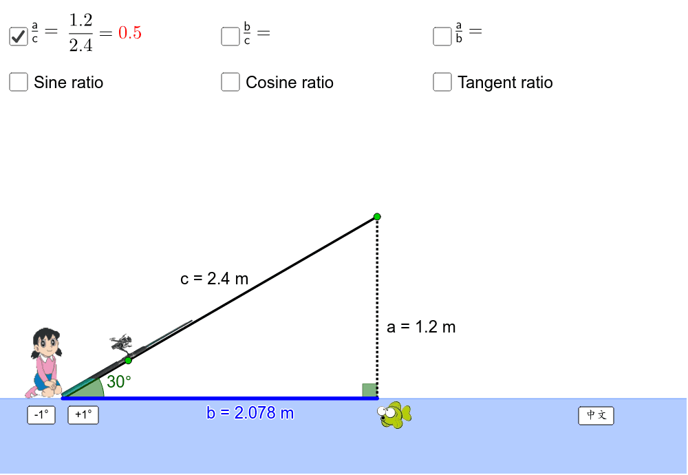 Drag the green points to change the lengths and the angle. 按 Enter 鍵開始活動