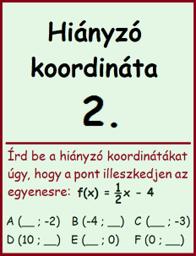 lineáris függvény - hiányzó koordináta 2.