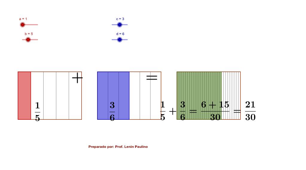 Con los deslizadores determina distintos denominadores y numeradores, observa las propiedades de la suma con mismo denominador y distinto. Presiona Intro para comenzar la actividad
