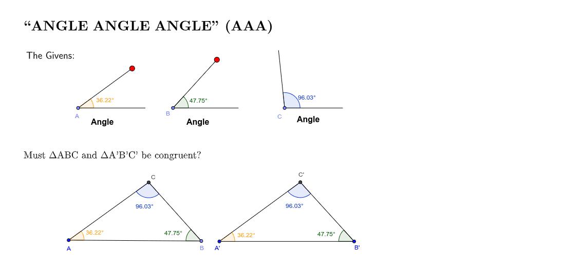 Angle Angle Angle (AAA) Press Enter to start activity