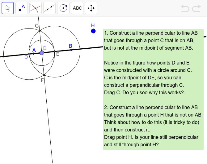 Challenge 10: Construct a Perpendicular Line Press Enter to start activity