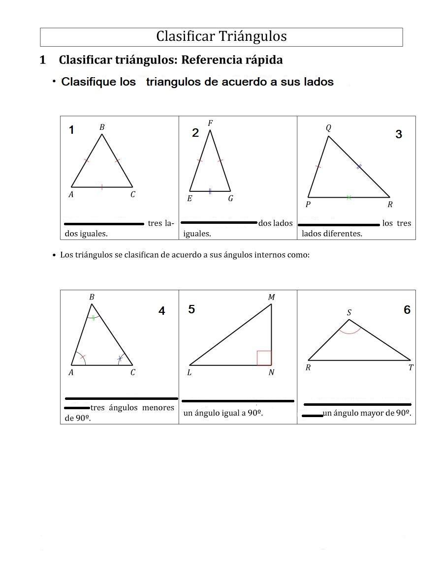 Clasifique cada triangulo segúnángulos sus lados y angulos