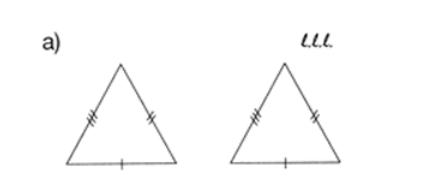 Las rayitas que se colocan en los lados de los triángulos de abajo simbolizan que los triángulos son congruentes por el criterio LLL