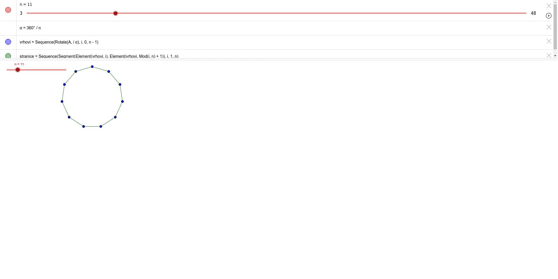Izazov-pomoću jedne naredbe kreirati stranice mnogokuta