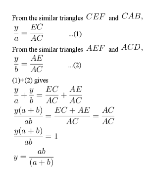 Deriving the formula for calculating y.