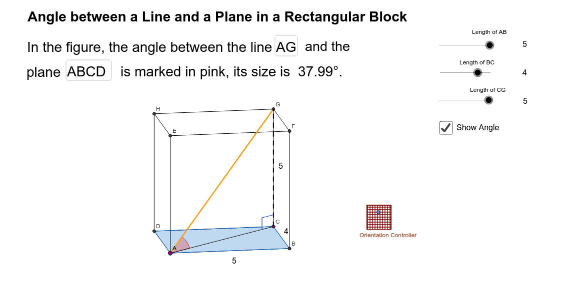 Angle between a Line and a Plane in a Rectangular Block Press Enter to start activity