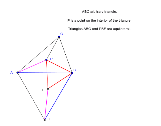 Triangles PBE and ABF are equilateral. Length of path CPEF is equal to the sum of distances PA+PB+PC Press Enter to start activity