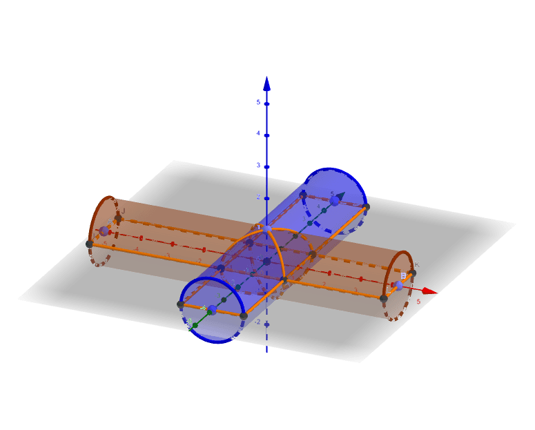 二つの円柱が交わった部分の体積を求めよう。