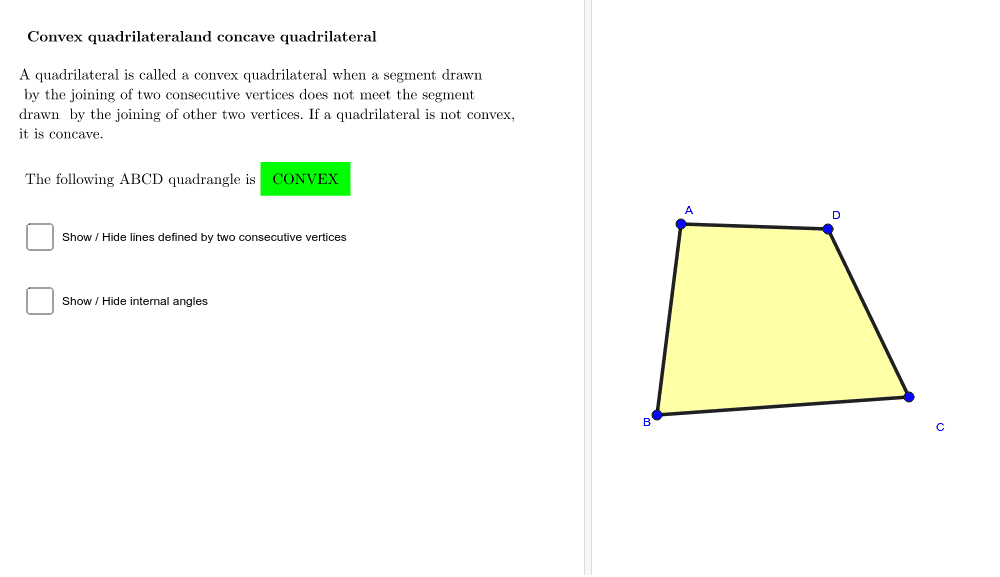 CONVEX QUADRILATERAL AND CONCAVE QUADRILATERAL Press Enter to start activity
