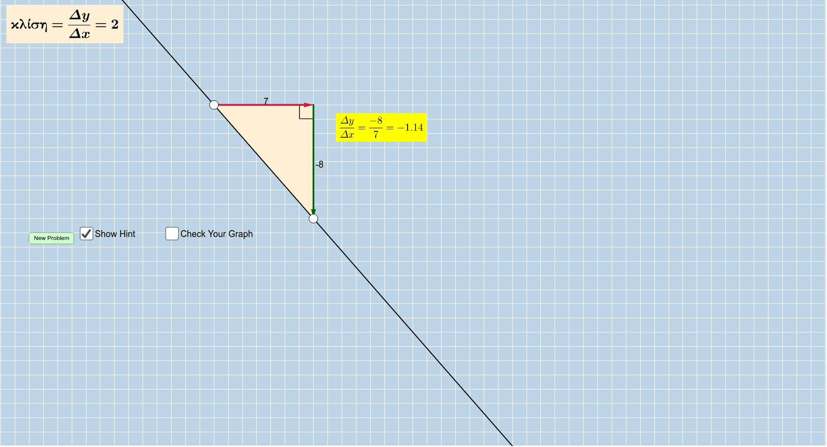 Να μετακινήσετε τα 2 άσπρα σημεία έτσι ώστε η ευθεία να αποκτήσει την κλίση που ζητάμε πάνω αριστερά. Για βοήθεια στο κίτρινο εμφανίζεται η κλίση της ευθείας  ΑΒ