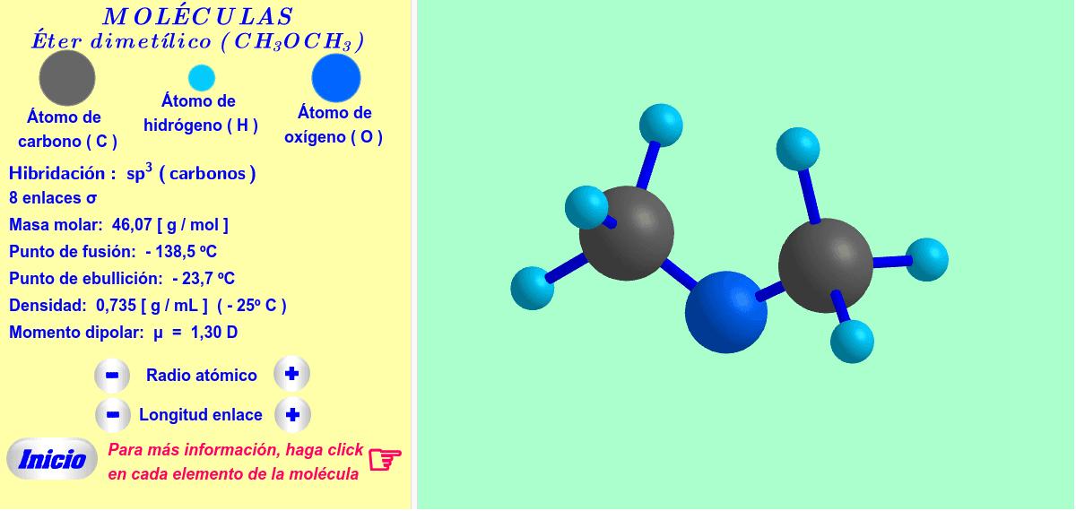 Un ejemplo de éter: éter dimetílico ( haga click en cada elemento de la molécula ).